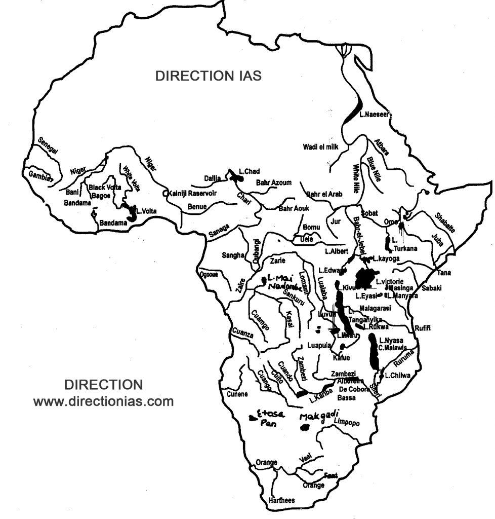 africa river map - Directionias
